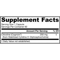 Citicoline CDP Choline - Cytykolina (CDP-Cholina - Cognizin) 250 mg (60 kaps.) Jarrow Formulas