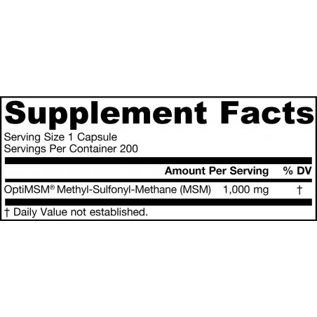 Siarka MSM 1000 mg - OptiMSM Metylosulfonylometan (200 kaps.) Jarrow Formulas