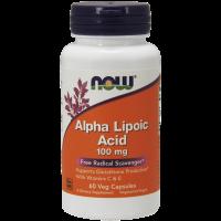 ALA - Kwas Alfa Liponowy 100 mg + Kwas Askorbinowy + Witamina E (60 kaps.) NOW Foods