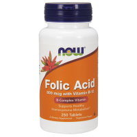 Folic Acid - Kwas foliowy 800 mcg + Witamina B12 25 mcg (250 tabl.) NOW Foods
