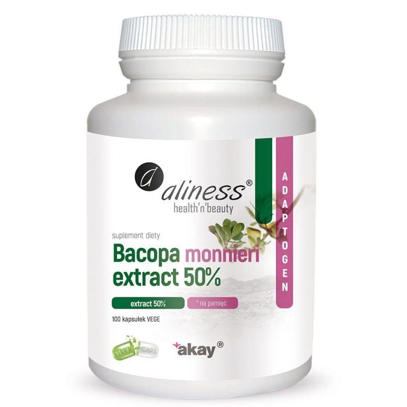 Bakopa (Brahmi) 500 mg - Bacopa Monnieri 50% bakozydów (100 kaps.) Aliness
