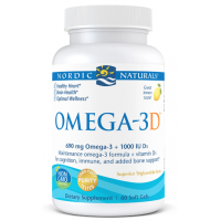 Omega-3D - Omega 3 + Witamina D3 o smaku cytrynowym (60 kaps.) Nordic Naturals