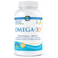Omega-3D - Omega 3 + Witamina D3 o smaku cytrynowym (120 kaps.) Nordic Naturals