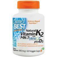 Naturalna Witamina K2 MK7 180 mcg + Witamina D3 25 mcg (60 kaps.) Doctor's Best