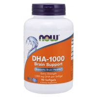 DHA-1000 Brain Support - Kwas dokozaheksaenowy DHA 1000 mg (90 kaps.) NOW Foods