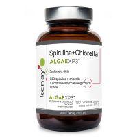 Spirulina + Chlorella ALGAEXP3 - Organiczna Spirulina i Chlorella (180 tabl.) Kenay