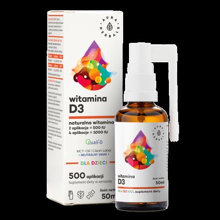 Witamina D3 dla dzieci w oleju MCT - aerozol (50 ml) Aura Herbals
