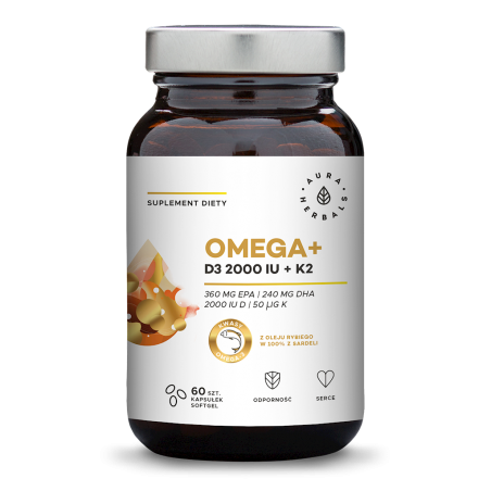 Omega+ Witamina D3 2000 IU /cholekalcyferol/ 50 mcg + K2 MK-7 (60 kaps.) Aura Herbals