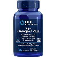 Super Omega-3 EPA/DHA z Lignanami Sezamowymi, Ekstraktem z Oliwek, Olejem z Kryla i Astaksantyną (120 kaps.) Life Extension