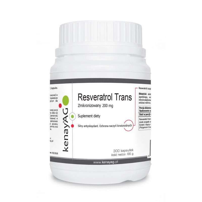 Resveratrol trans zmikronizowany 200 mg (300 kaps.) Kenay AG