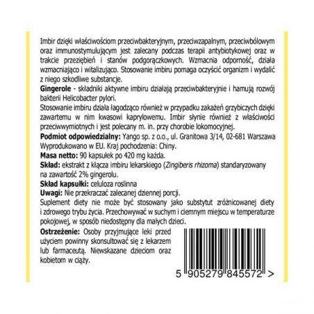 Imbir standaryzowany - 2% Gingerolu (90 kaps.) Yango