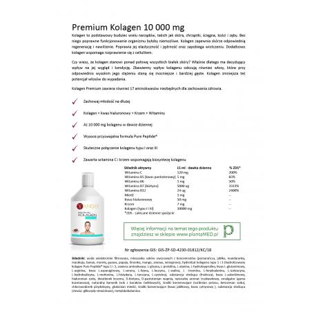 Karta produktu: Premium Kolagen 10000 mg + Kwas Hialuronowy + Krzem (500 ml) Yango