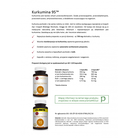 Karta produktu: Kurkumina 95 z Piperyną (60 kaps.) Yango