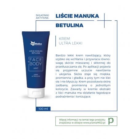 Liście Manuka + Betulina - Krem Ultra Lekki Face+Body (100 ml) EkaMedica