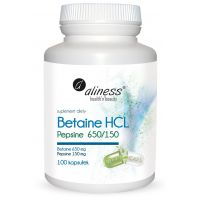 Betaina HCL 650 mg + Pepsyna 150 mg (100 kaps.) Aliness