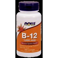 Witamina B12 /cyjanokobalamina/ 1000 mcg + Witamina B9 - Kwas Foliowy 100 mcg do ssania (250 tabl.) Now Foods