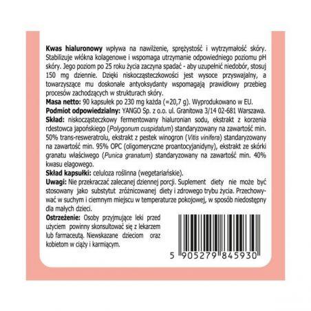 Niskocząsteczkowy Kwas Hialuronowy Pro-Beauty + Rdestowiec + OPC + Granat (90 kaps.) Yango